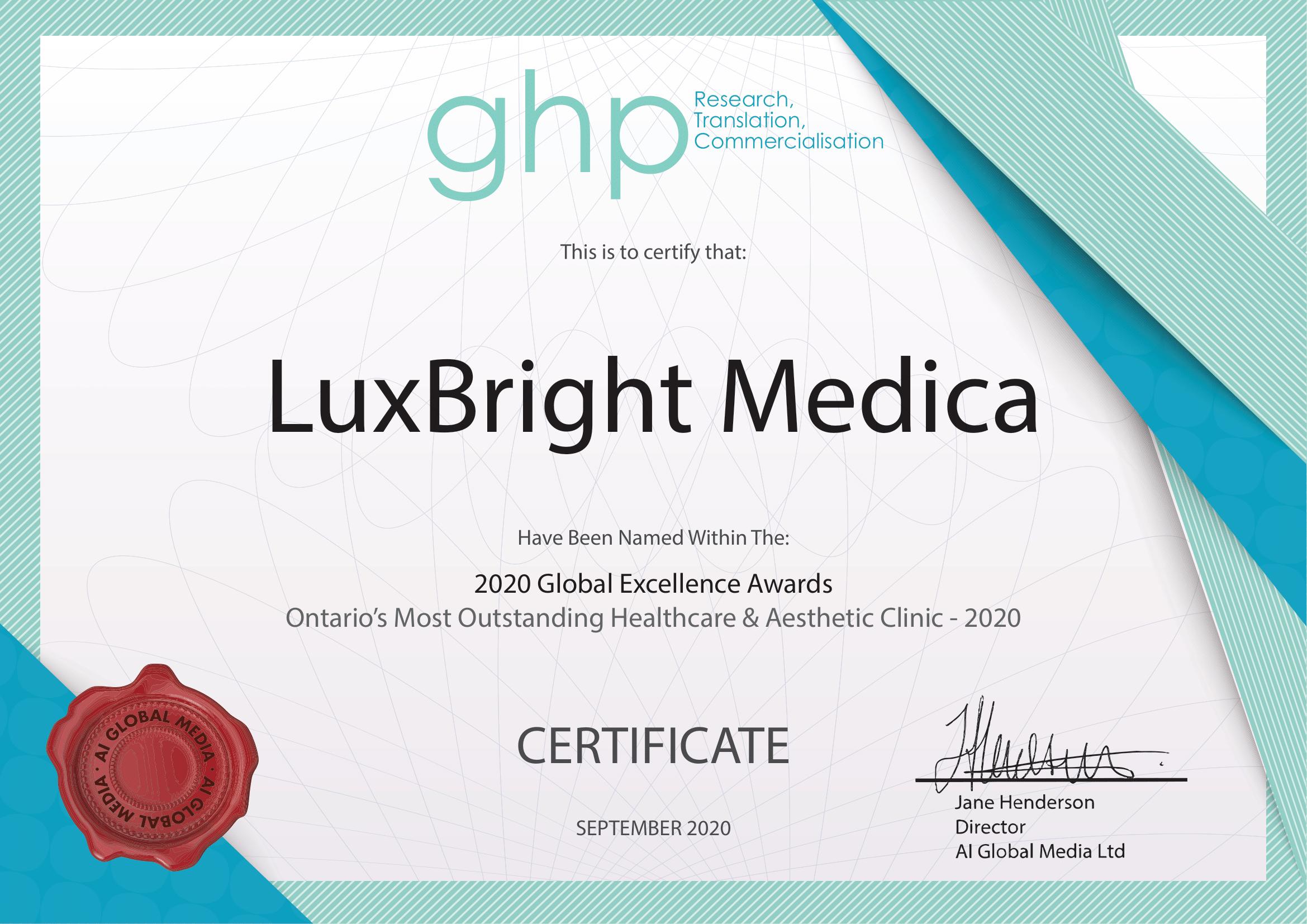 LuxBright Medica Certificate